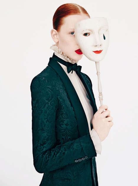 Costumed Wonderland Editorials - Dani Witt and Co. Wear Many Different Masks for Harper's Bazaar UK