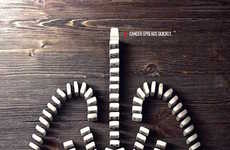 Domino Effect Cancer Ads - These Ads Use Dominoes to Raise Awareness of the Rapid Spread of Cancer