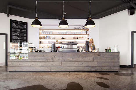 Minimalist Juxtaposed Cafes - This Coffee Shop Combines Timber & Concrete for a Raw Interior Design