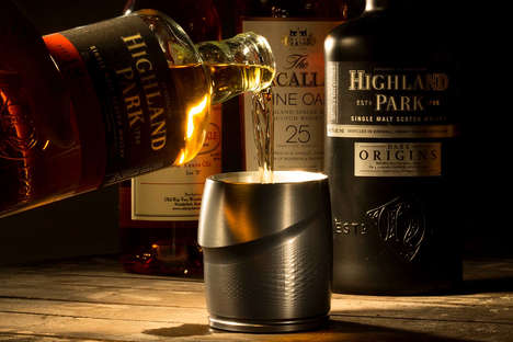 Ergonomic Whiskey Tumblers - These Luxurious Glasses are Milled From Aerospace-Grade Aluminum