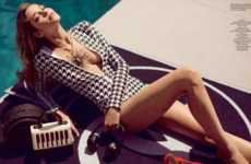 Elegant Poolside Editorials - The Ana Beatriz Barros L'Officiel Russia Cover Shoot is Glamorous