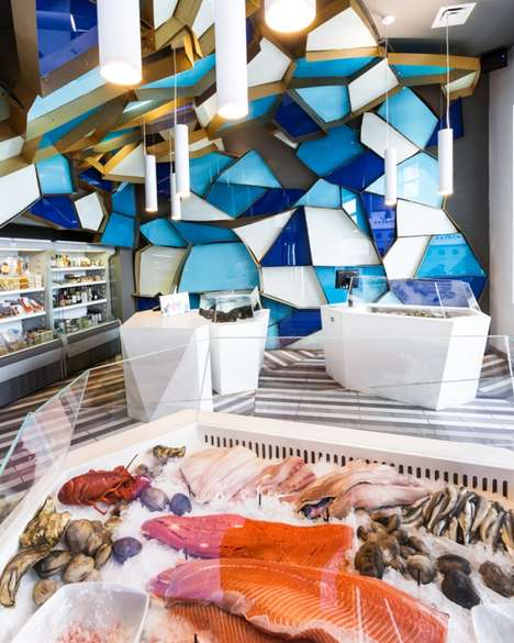 Faceted Seafood Stores - The Nemeau Seafood Shop Mimics the Experience of Being Undersea