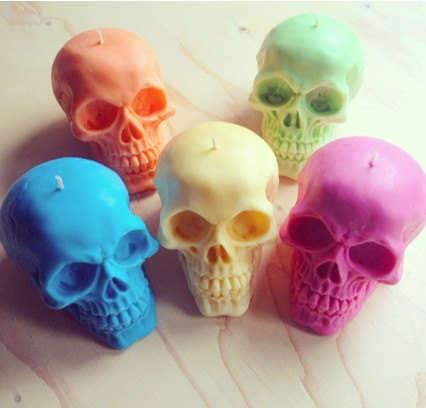 Chromatic Skull Candles