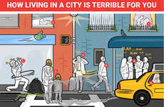 Harmful City Dwelling Charts - This Infographic Lists the Negative Effects of City Life on Health