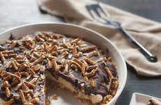 Layered Pretzel Desserts - This Chocolate, Peanut Butter and Pretzel Pie is a Tasty Trifecta Treat