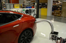 Autonomous Car Chargers - Tesla's Electric Car Charging Station Automatically Locates Ports