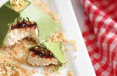 Confectionery Green Tea Pyramids - These Matcha Desserts Contain Chocolate, Strawberry and Caramel