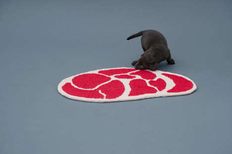 The 'Niku Rug' is a Dog Mat Patterned to Mimic Various Cuts of Meat