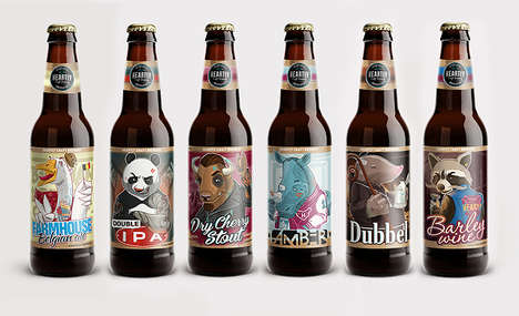 Anthropomorphic Beer Logos - These Beer Bottle Labels Feature Quirky Humanized Animals