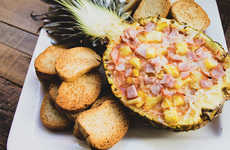 Pineapple Pizza Dips - This Tropical Fruit and Meat Dip Recipe Uses a Pineapple as a Bowl