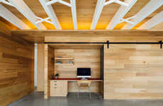 Hidden Sliding Offices - This Office Area Cleverly Blends into the Wall Thanks to a Sliding Door