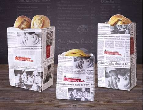 Newspaper Bread Packaging - L'Amande French Bakery's Newspaper Packaging is Graphic and Sustainable