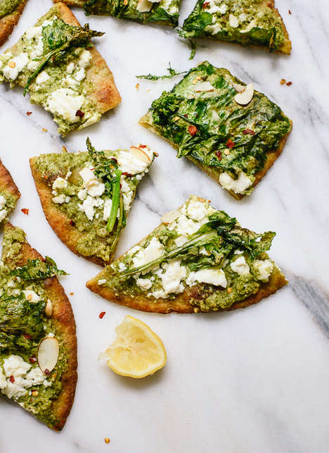 Broccoli Pesto Pizzas - This Homemade Pizza Replaces Tomatoes for a Rich Green Veggie Sauce