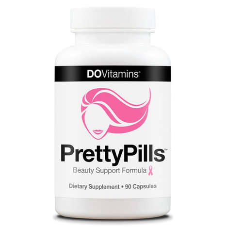 Feminized Beauty Supplements - The PrettyPills Use Vitamins to Increases Hair, Skin and Nail Growth
