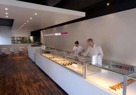 Glass-Encased Pastry Displays - NKA's Nadege Patisserie Interior Boasts Clear and Contemporary Cases