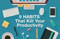 Productivity Killer Charts - This Infographic Lists Poor Productivity Habits That Hold You Back