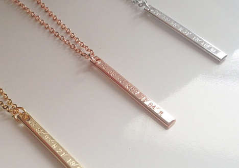Engraved Coordinate Necklaces - This Vertical Pendant is Etched with a Customized Numerical Location