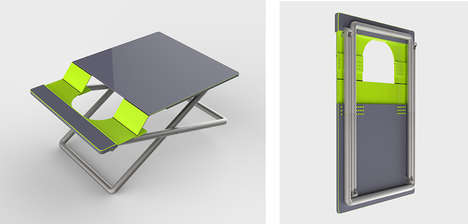 Folding Portable Workstations - Designer Chen Heng Created a Perfect Chair and Table Hybrid