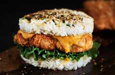 Rice-Based Burger Buns - This Crispy Chicken Burger Features a Bread-Free Bun