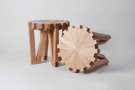 Gar-Shaped Stools - The Calibre 32 Wooden Stool Symbolizes a Wheel of Unity