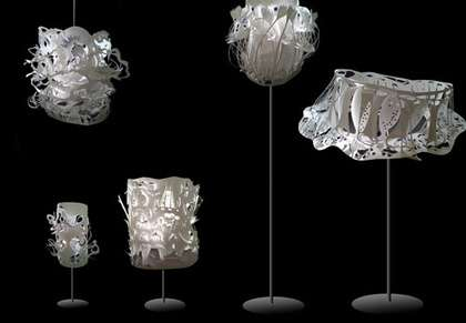 Recycled Hand-Cut Lighting - 'Cloud Lamps' by Yu Jordy Fu