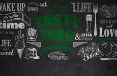 Chalkboard Cafe Branding - The Tasty Corner Restaurant Brands Itself with Black Boards & White Chalk