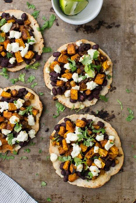 Piquante Squash Tostadas - These Meatless Tacos Opt for Hearty Black Beans and Butternut Squash
