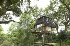 Two-Storey Compact Cabins - This Rustically Modern Treehouse was Designed to Aid Writers Block