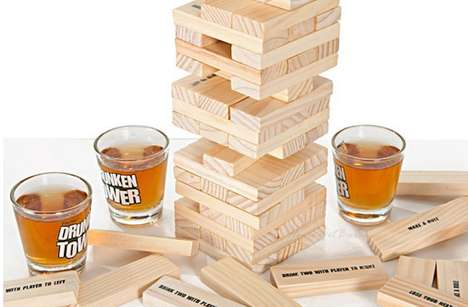 Boozy Block-Building Games - This Re-Invented Jenga Game Incorporates Playful Recreational Drinking