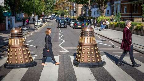Iconic Sci-Fi Album Covers - This Abbey Road Photoshoot Stars the Cast of Doctor Who