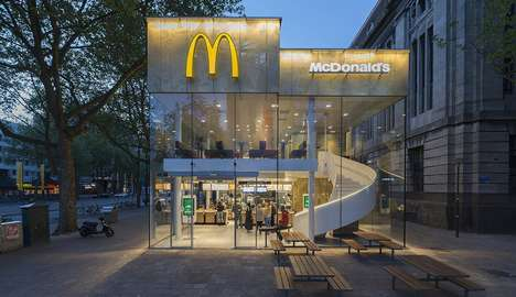 Ultra-Modern Fast Food Eateries - This McDonald's Location Has a Golden Facade & a Spiral Staircase