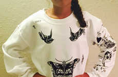Celeb Tattoo Shirts - The One Direction Sweatshirt Has All of the Harry Styles Tattoos Printed On It