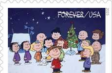 Cartoon Christmas Stamps - These Charlie Brown Postage Stickers Celebrate the Classic Holiday Film