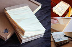 Natural Pine Notepads - The Kizara Wooden Sheet Notepad is Crafted Using 100% Japanese Pine Trees
