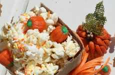 Festive Candied Popcorn - This Sweet Fall Snack Features Candied Pumpkins and White Chocolate