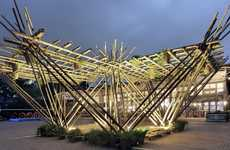 Bamboo Cane Pavilions - Penda's Rising Canes Structure Has a Modular-Friendly Construction
