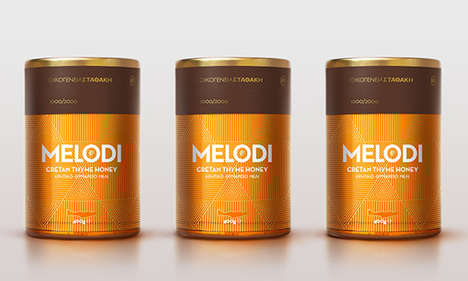 Art Deco Honey Packaging - MELODI Honey Features an All-Gold Container That's Simply Prismatic