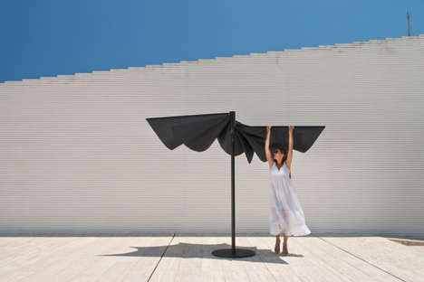 Foldable Patio Umbrellas - The 'Om' Sunshade Features a Folding Mechanism for Full Customization