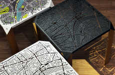 Cartographic Side Tables