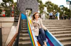 Rainbow-Colored Commuter Slides - Oreo's WONDERFILLED Campaign Brought Colorful Slides to London