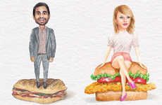 Celebrity Sandwich Art - These Comedic Celeb Drawings Seat T-Swift on Top of Fried Chicken