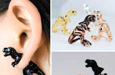 Pretty Prehistoric Jewelry - These Dinosaur Stud Earrings Put a T-Rex or Brontosaurus in Your Ear