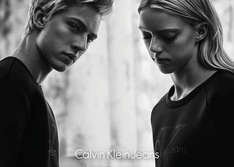 Monochromatic Sibling Campaigns - This Calvin Klein Jeans Ad Stars Lucky Blue and Pyper America