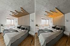 Illuminating Wooden Headboards - This Stylish Wooden Plank Piece Doubles Up as a Ceiling Light