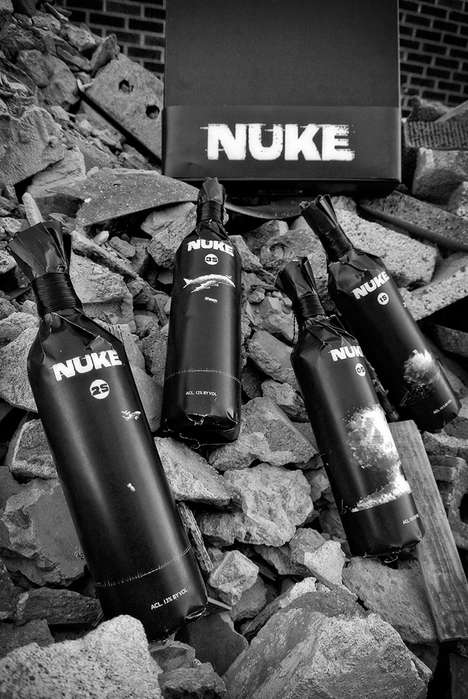 Explosive Wines Labels - These War-Themed 'NUKE' Wines are Produced in a Radioactive Vast Carver