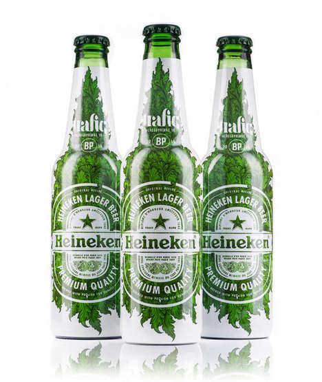 Leaf-Covered Beer Labels