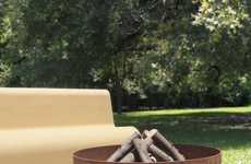 Sleek Steel Fire Pits - The 'Plodes Wave Outdoor Fire Pit' Has a Curved Tripod Base for Balance