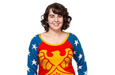 Knitted Heroine Sweaters - This Wonder Woman Crotchet Jumper Encapsulates the Hero's Bright Costume