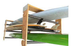 Aquatic Equipment Storage - The Cor Surf Roll-Rack Uses an Innovative Design to Store Surfboards