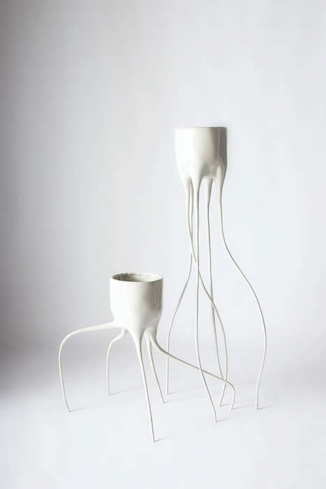 These 'Monstera' Plant Pots are Designed with Long Fragile Legs